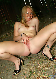 Adorable hottie Ami spreads her pussy just to display her pink clitoris outdoors