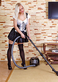 Naughty Anna F sheds her sexy maid outfit to get frisky with her twat