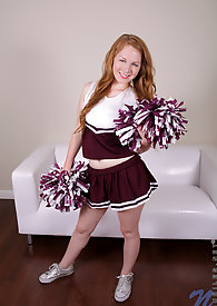 Horny cheerleader hottie puts down her pom poms and fucks her favorite vibrator